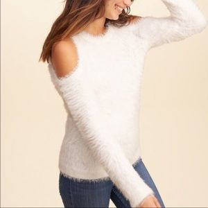 Hollister cold shoulder white fuzzy sweater